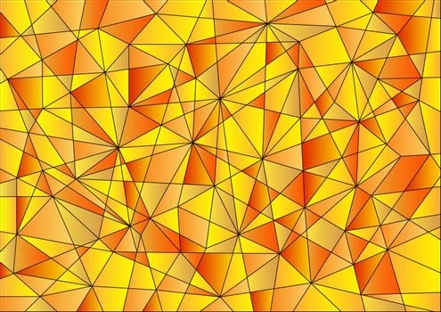 Abstract geometric pattern is composed of triangles of different sizes in orange and yellow gradients.