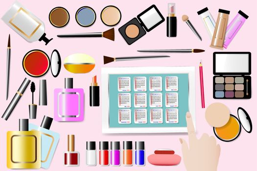 Cosmetic accessories are around a Calendar for 2018 year in the centre of the vector. All is on the pink background. Female hand is touching a tablet. All potential trademarks are removed.