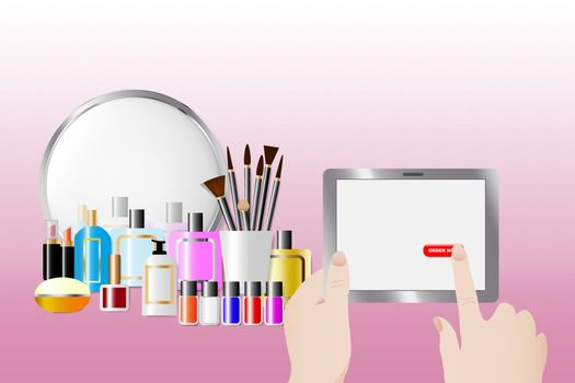 Cosmetic accessories standing in front of a mirror on the pink background. Female hands are holding a tablet and touching red button Order now. All potential trademarks are removed.