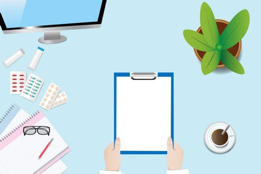 Top view of a medical table with doctor's hands holding blank paper ready for your text.