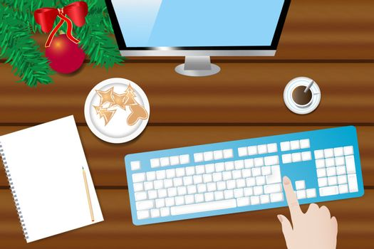 Top view of the wooden desk with twig of Christmas tree,  coffee cup, blank paper with pen ready for your text , computer monitor and keyboard. Hand is touching keyboard.