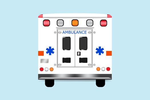 Back of ambulance car vector isolated on the blue background.