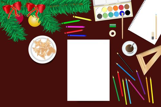 Top view of the wooden desk with twig of Christmas tree and school supplies ready for creating home Christmas decorations.