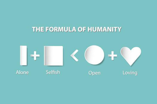 The shapes column, prism, square, circle and heart are showing the evolution of human relationships - from loneliness to loving. All is on the trendy green background.