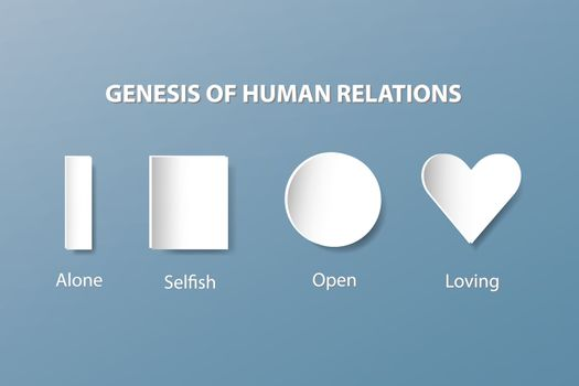 The white shapes column, prism, square, circle and heart are showing the evolution of human relationships - from loneliness to loving. All is on the trendy blue background.