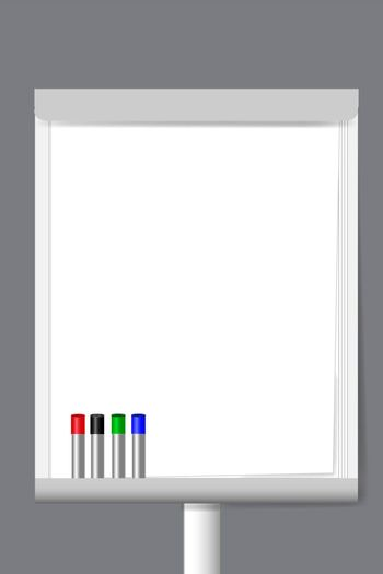 Flip chart with markers and blank sheets ready for your text.