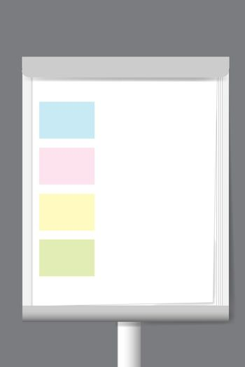 Flip chart with color rectangle moderation papers ready for your text.
