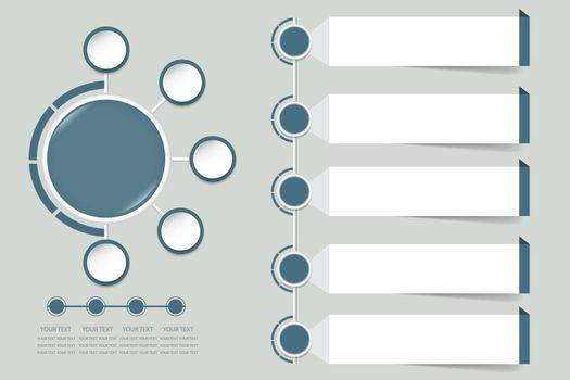 Modern infographic labels as a circle in faded shade of blue color with small circles around. For your text you can use another rectangles next to them.