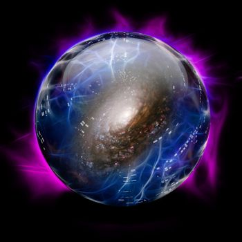 Crystal Ball Shows Galaxy. 3D rendering