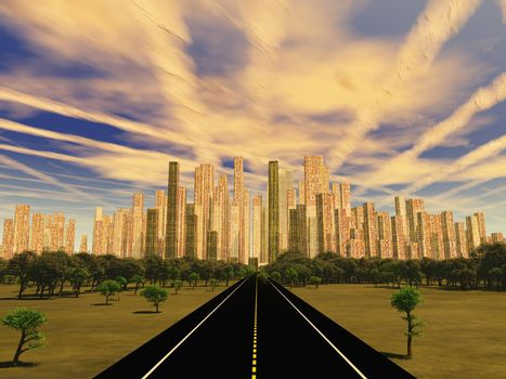 Road to city under alien sky. 3D rendering