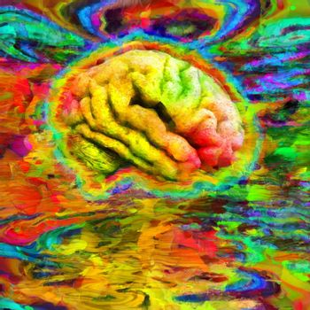 Abstract painting. Humans brain in acid colors. 3D rendering