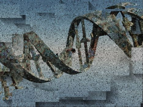 DNA chain and words. 3D rendering