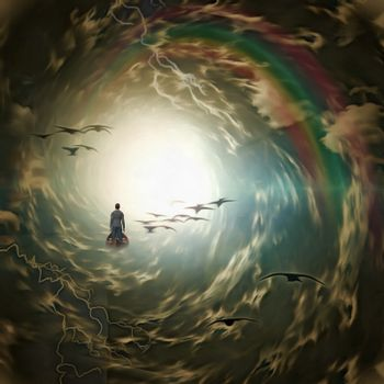 Tunnel of clouds with birds and lightning. 3D rendering