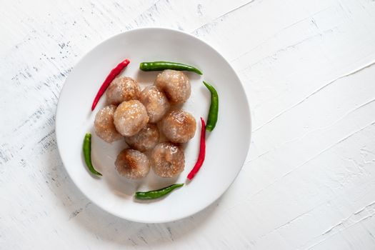 Pork Sago, Thai food with green and red chillies