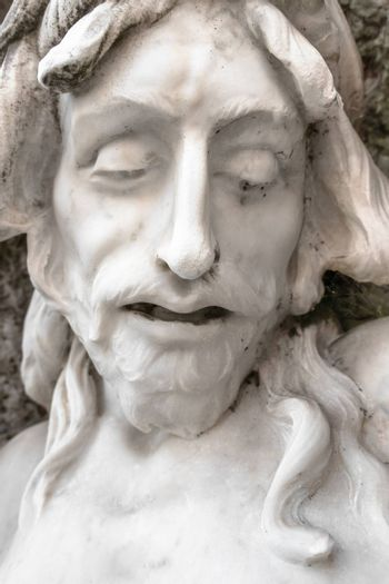 Bas-relief of Jesus crowned with thorns. Ideal for events and concepts.