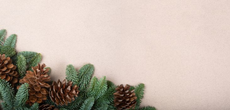 Christmas card banner light background with noble fir tree branches and pine cones border frame with copy space for text