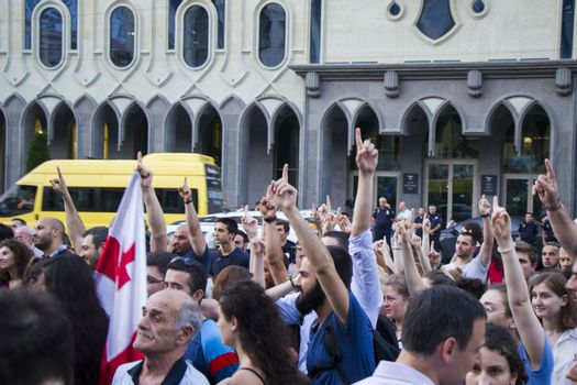 Georgian protests in front of the Parliament of Georgia, also known as Gavrilov's Night or anti-government protests