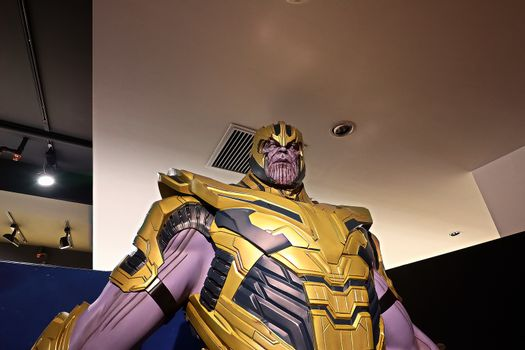 Thanos full armor suit action figure show for promote Avengers endgame movie
