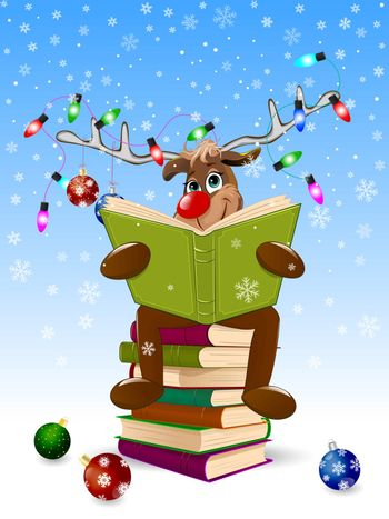 Cartoon deer reads a book for Christmas. A deer with a book and with Christmas decorations on a winter background. A deer is sitting on a stack of books.
