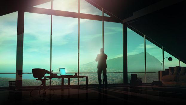A businessman in his office looks at the coastal landscape.