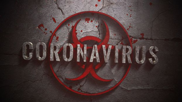 Closeup text Coronavirus and mystical horror background with toxic sign and dark blood, abstract backdrop. Luxury and elegant 3d illustration of horror theme