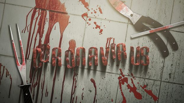 Closeup text Coronavirus and mystical horror background with dark blood and medical instruments, abstract backdrop. Luxury and elegant 3d illustration of horror theme