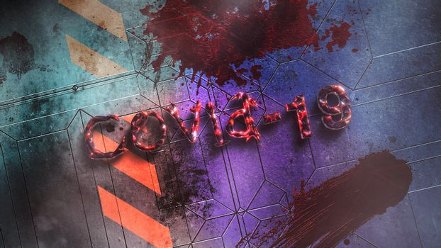 Closeup text Covid-19 and mystical horror background with dark blood on wall, abstract backdrop. Luxury and elegant 3d illustration of horror theme