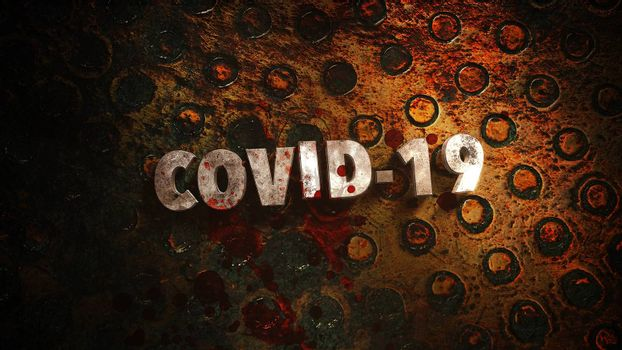 Closeup text Covid-19 and mystical horror background with dark blood, abstract backdrop. Luxury and elegant 3d illustration of horror theme