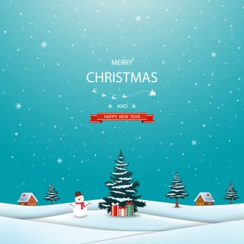 Merry Christmas and happy new year greeting card,winter landscape with snowman and gift boxes on snowy background,vector illustration