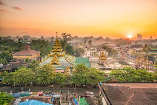 Yangon skyline with beautiful sunrise