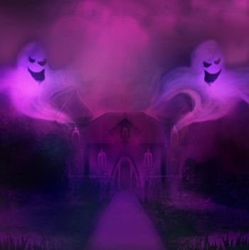 Halloween terrible illustration with a ghost in front of a haunt