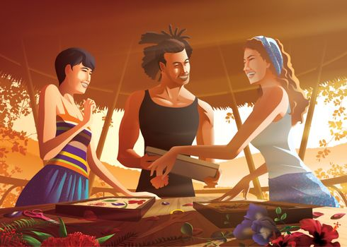 Vector illustration of 3 tourists are attending the paper craft