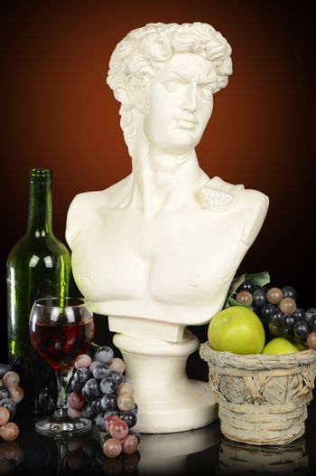 Roman Bust and Fruit
