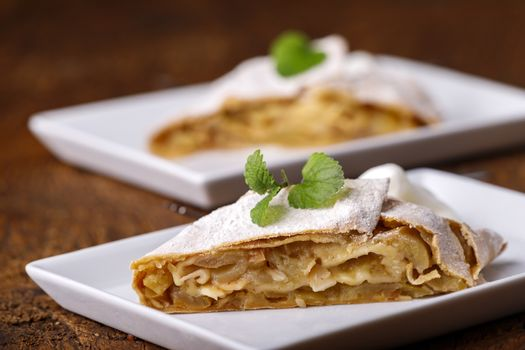 austrian apple strudel on white plates