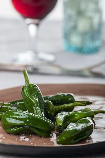 green pimientos de padron with sea salt