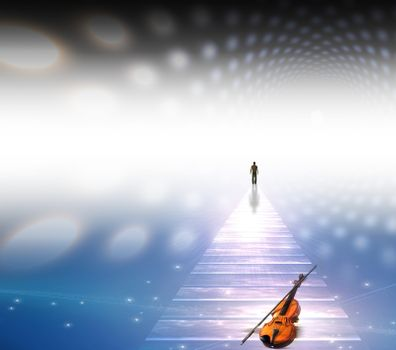 Musical Path. Spiritual art. 3D rendering