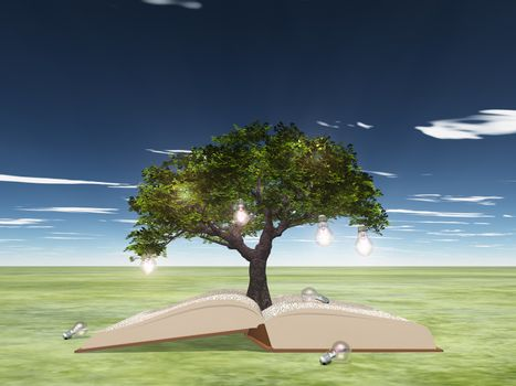 Open book with light bulb tree. 3D rendering
