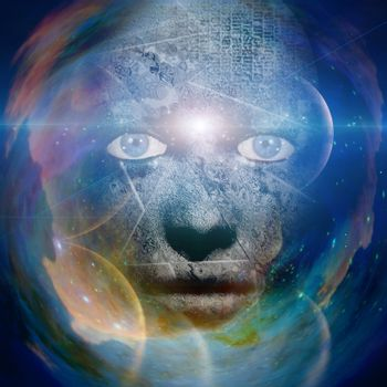 Scary human face with universe background. 3D rendering