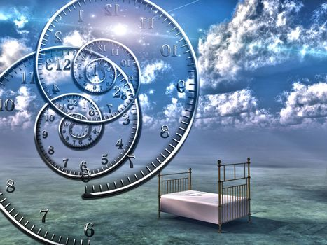 Empty bed in the sky. Spirals of time. 3D rendering