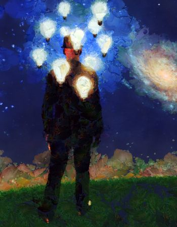 Surreal painting. Man in suit stands in field. Light bulbs around his head represents ideas. 3D rendering