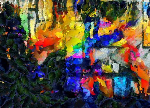Abstract painting. Green leafs and colorful brush strokes. 3D rendering