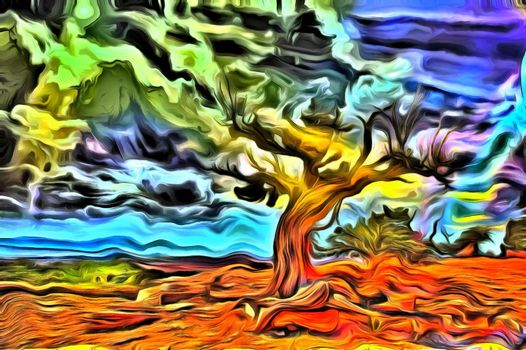 Abstract painting. Old tree stands on a rocky ground. 3D rendering