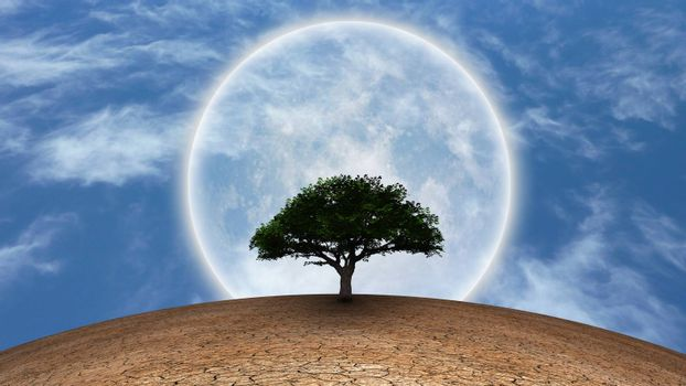 Surrealism. Green tree in arid land. Full moon in blue sky. 3D rendering