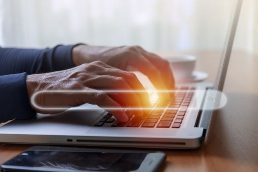 Internet and Technology concept. Hands man useing laptop search engine optimization. man hands using  computer notebook to Searching for information with search console background.