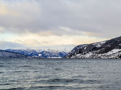 Winter landscape and morning time at Sognefjord in Vestland, Norway.