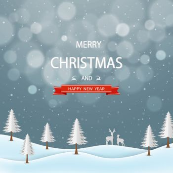 Merry Christmas and happy new year greeting card,winter night landscape with text on gray background,vector illustration