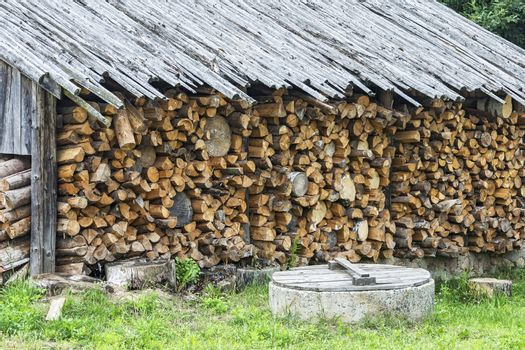 Under a canopy stacked firewood in a woodpile for the winter sea