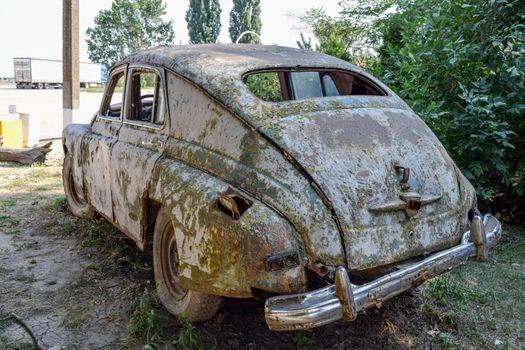 "Old rusty Soviet car ""Victory"". Rare exhibit"