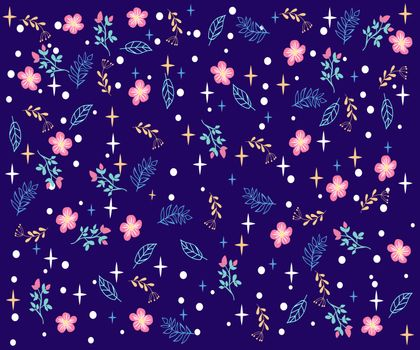 Vector hand-drawn botanical background with stars and dots. Cute doodle style illustration on blue background. Great for wrapping paper, textile, fabric print and wallpaper.