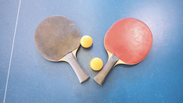 Top view of table tennis or ping-pong table
